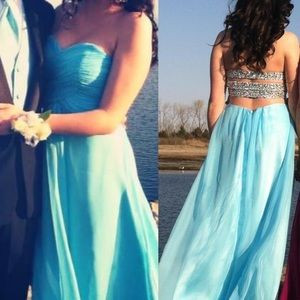Turquoise Strapless Dress Size 2